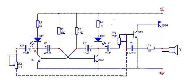 工作原理: 三极管bg1,bg2等组成低频振荡器,其输出端b通过电容c3和电