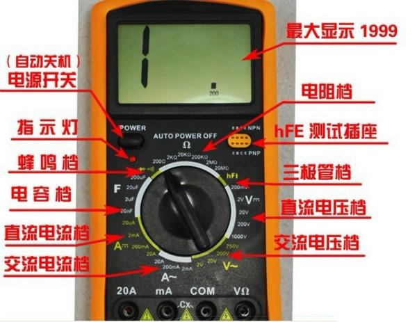 数字万用表相对来说,属于比较简单的测量仪器。本篇,作者就教大家数字万用表的正确使用方法。从数字万用表的电压、电阻、电流、二极管、三极管、MOS场效应管的测量等测量方法开始,让你更好的掌握万用表测量方法。 99e7【中国自动化网社区】76de5b【http://sns.ca800.com】9c007 一、电压的测量   1、直流电压的测量,如电池、随身听电源等。首先将黑表笔插进com孔,红表笔插进V  。把旋钮选到比估计值大的量程 (注意:表盘上的数值均为最大量程,V-表示直流电压档,V~表