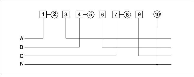 DT862—4型三相四线有功表,3*20A(80) 3*220V(380)的表只有7个接线孔,分别为1、3,4、6,7、9,10,2、5、8端子表上分别从1、4、7上接了一个小连板,请问这种表该如保接线?